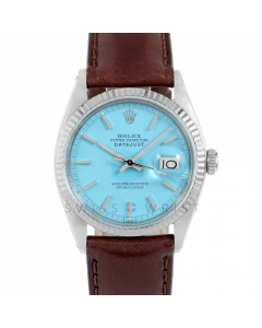 Rolex Datejust 36 1601 White Gold & Steel, Turquoise Stick Dial, Fluted Bezel On Brown Leather Strap, Men's Pre-Owned Watch