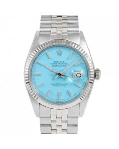 Rolex Datejust 36 1601 White Gold & Steel, Turquoise Stick Dial, Fluted Bezel On Jubilee Bracelet, Men's Pre-Owned Watch