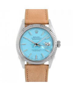 Rolex Datejust 36 1601 White Gold & Steel, Turquoise Stick Dial, Fluted Bezel On Taupe Leather Strap, Men's Pre-Owned Watch