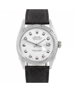Rolex Datejust 36 1601 White Gold & Steel, Custom White Diamond Dial, Fluted Bezel On Black Buffalo Leather Strap, Men's Pre-Owned Watch