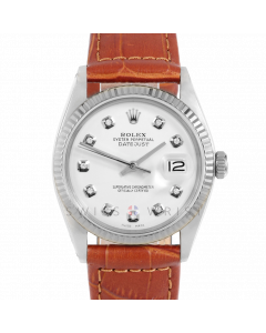 Rolex Datejust 36 1601 White Gold & Steel, Custom White Diamond Dial, Fluted Bezel On Brown Alligator Leather Strap, Men's Pre-Owned Watch