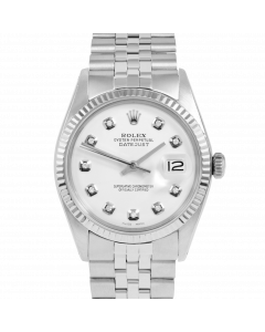 Rolex Datejust 36 1601 White Gold & Steel, Custom White Diamond Dial, Fluted Bezel On Jubilee Bracelet, Men's Pre-Owned Watch