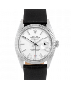 Rolex Datejust 36 1601 White Gold & Steel, White Stick Dial, Fluted Bezel On Black Leather Strap, Men's Pre-Owned Watch