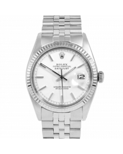 Rolex Datejust 36 1601 White Gold & Steel, White Stick Dial, Fluted Bezel On Jubilee Bracelet, Men's Pre-Owned Watch