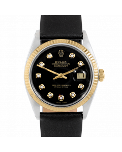 Rolex Datejust 36 1601 Yellow Gold & Steel, Custom Black Diamond Dial, Fluted Bezel On Black Leather Strap, Men's Pre-Owned Watch
