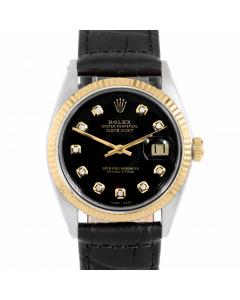 Rolex Datejust 36 1601 Yellow Gold & Steel, Custom Black Diamond Dial, Fluted Bezel On Black Alligator Leather Strap, Men's Pre-Owned Watch