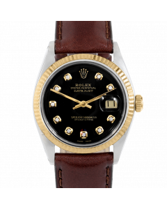 Rolex Datejust 36 1601 Yellow Gold & Steel, Custom Black Diamond Dial, Fluted Bezel On Brown Leather Strap, Men's Pre-Owned Watch