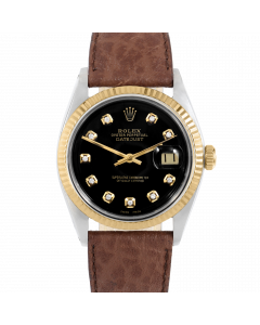 Rolex Datejust 36 1601 Yellow Gold & Steel, Custom Black Diamond Dial, Fluted Bezel On Brown Buffalo Leather Strap, Men's Pre-Owned Watch