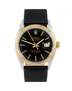 Rolex Datejust 36 1601 Yellow Gold & Steel, Black Stick Dial, Fluted Bezel On Black Leather Strap, Men's Pre-Owned Watch
