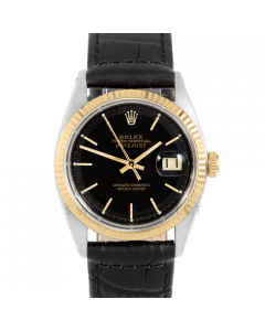 Rolex Datejust 36 1601 Yellow Gold & Steel, Black Stick Dial, Fluted Bezel On Black Alligator Leather Strap, Men's Pre-Owned Watch