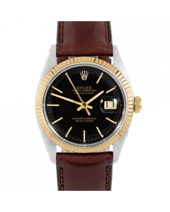 Rolex Datejust 36 1601 Yellow Gold & Steel, Black Stick Dial, Fluted Bezel On Brown Leather Strap, Men's Pre-Owned Watch