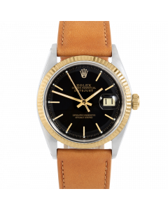 Rolex Datejust 36 1601 Yellow Gold & Steel, Black Stick Dial, Fluted Bezel On Tan Leather Strap, Men's Pre-Owned Watch