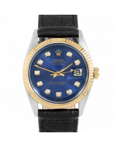 Rolex Datejust 36 1601 Yellow Gold & Steel, Custom Blue Diamond Dial, Fluted Bezel On Black Alligator Leather Strap, Men's Pre-Owned Watch