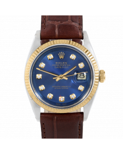 Rolex Datejust 36 1601 Yellow Gold & Steel, Custom Blue Diamond Dial, Fluted Bezel On Brown Alligator Leather Strap, Men's Pre-Owned Watch
