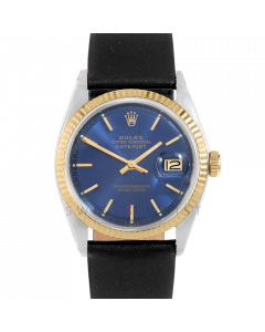 Rolex Datejust 36 1601 Yellow Gold & Steel, Blue Stick Dial, Fluted Bezel On Black Leather Strap, Men's Pre-Owned Watch