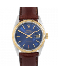 Rolex Datejust 36 1601 Yellow Gold & Steel, Blue Stick Dial, Fluted Bezel On Brown Leather Strap, Men's Pre-Owned Watch