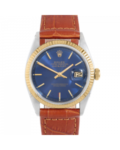 Rolex Datejust 36 1601 Yellow Gold & Steel, Blue Stick Dial, Fluted Bezel On Brown Alligator Leather Strap, Men's Pre-Owned Watch