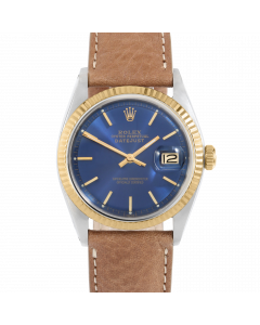 Rolex Datejust 36 1601 Yellow Gold & Steel, Blue Stick Dial, Fluted Bezel On Dark Tan Leather Strap, Men's Pre-Owned Watch