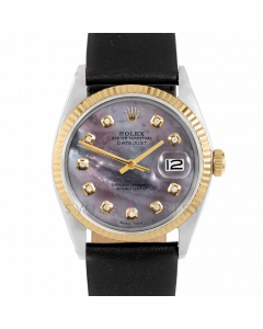 Rolex Datejust 36 1601 Yellow Gold & Steel, Custom Black MOP Diamond Dial, Fluted Bezel On Black Leather Strap, Men's Pre-Owned Watch