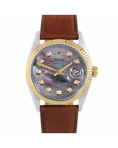 Rolex Datejust 36 1601 Yellow Gold & Steel, Custom Black MOP Diamond Dial, Fluted Bezel On Mahogany Leather Strap, Men's Pre-Owned Watch