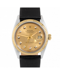 Rolex Datejust 36 1601 Yellow Gold & Steel, Custom Champagne Diamond Dial, Fluted Bezel On Black Leather Strap, Men's Pre-Owned Watch