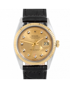 Rolex Datejust 36 1601 Yellow Gold & Steel, Custom Champagne Diamond Dial, Fluted Bezel On Black Alligator Leather Strap, Men's Pre-Owned Watch