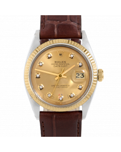 Rolex Datejust 36 1601 Yellow Gold & Steel, Custom Champagne Diamond Dial, Fluted Bezel On Brown Alligator Leather Strap, Men's Pre-Owned Watch