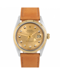 Rolex Datejust 36 1601 Yellow Gold & Steel, Custom Champagne Diamond Dial, Fluted Bezel On Tan Leather Strap, Men's Pre-Owned Watch