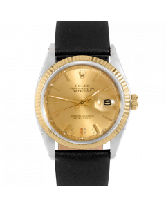 Rolex Datejust 36 1601 Yellow Gold & Steel, Champagne Stick Dial, Fluted Bezel On Black Leather Strap, Men's Pre-Owned Watch
