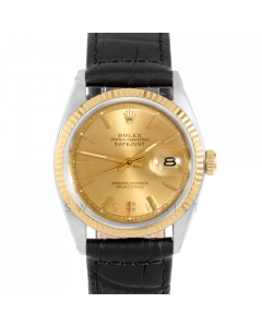 Rolex Datejust 36 1601 Yellow Gold & Steel, Champagne Stick Dial, Fluted Bezel On Black Alligator Leather Strap, Men's Pre-Owned Watch