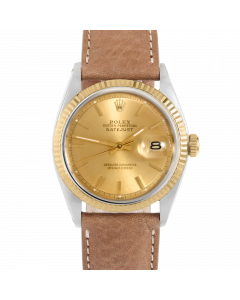 Rolex Datejust 36 1601 Yellow Gold & Steel, Champagne Stick Dial, Fluted Bezel On Dark Tan Leather Strap, Men's Pre-Owned Watch