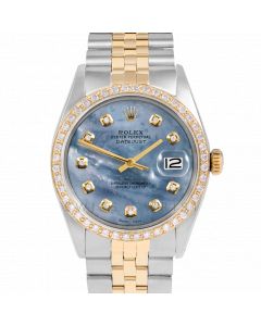 Rolex Datejust 36 1601 Yellow Gold & Steel, Custom Blue MOP Diamond Dial, 1ct Diamond Bezel On Jubilee Bracelet, Men's Pre-Owned Watch