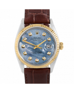 Rolex Datejust 36 1601 Yellow Gold & Steel, Custom Blue MOP Diamond Dial, Fluted Bezel On Brown Alligator Leather Strap, Men's Pre-Owned Watch
