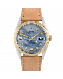 Rolex Datejust 36 1601 Yellow Gold & Steel, Custom Blue MOP Diamond Dial, Fluted Bezel On Taupe Leather Strap, Men's Pre-Owned Watch
