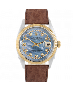 Rolex Datejust 36 1601 Yellow Gold & Steel, Custom Blue MOP String Diamond Dial, Fluted Bezel On Brown Buffalo Leather Strap, Men's Pre-Owned Watch