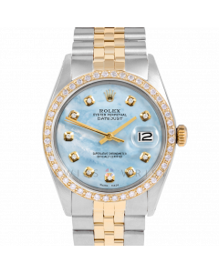 Rolex Datejust 36 1601 Yellow Gold & Steel, Custom Light Blue MOP Diamond Dial, 1ct Diamond Bezel On Jubilee Bracelet, Men's Pre-Owned Watch