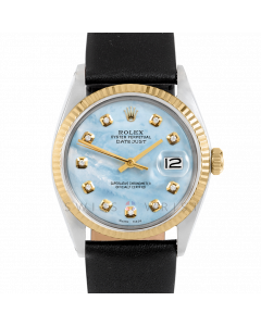 Rolex Datejust 36 1601 Yellow Gold & Steel, Custom Light Blue MOP Diamond Dial, Fluted Bezel On Black Leather Strap, Men's Pre-Owned Watch