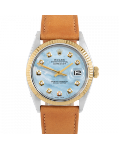 Rolex Datejust 36 1601 Yellow Gold & Steel, Custom Light Blue MOP Diamond Dial, Fluted Bezel On Tan Leather Strap, Men's Pre-Owned Watch