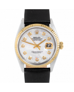 Rolex Datejust 36 mm 1601 Yellow Gold & Steel, Custom Mother of Pearl Diamond, Fluted Bezel On A Black Leather Strap - Men's Pre-Owned Watch