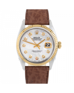 Rolex Datejust 36 1601 Yellow Gold & Steel, Custom MOP Diamond Dial, Fluted Bezel On Brown Buffalo Leather Strap , Men's Pre-Owned Watch