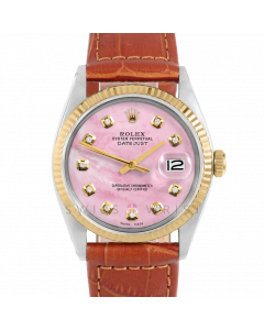 Rolex Datejust 36 1601 Yellow Gold & Steel, Custom Pink MOP Diamond Dial, Fluted Bezel On Brown Alligator Leather Strap, Men's Pre-Owned Watch