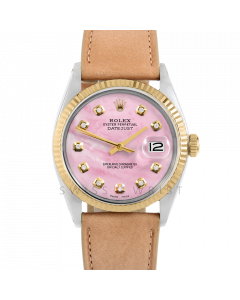 Rolex Datejust 36 1601 Yellow Gold & Steel, Custom Pink MOP Diamond Dial, Fluted Bezel On Taupe Leather Strap, Men's Pre-Owned Watch