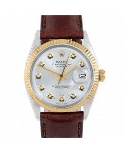 Rolex Datejust 36 1601 Yellow Gold & Steel, Custom Silver Diamond Dial, Fluted Bezel On Brown Leather Strap, Men's Pre-Owned Watch