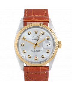 Rolex Datejust 36 1601 Yellow Gold & Steel, Custom Silver Diamond Dial, Fluted Bezel On Brown Alligator Leather Strap, Men's Pre-Owned Watch