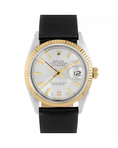 Rolex Datejust 36 1601 Yellow Gold & Steel, Silver Stick Dial, Fluted Bezel On Black Leather Strap, Men's Pre-Owned Watch
