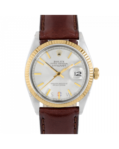 Rolex Datejust 36 1601 Yellow Gold & Steel, Silver Stick Dial, Fluted Bezel On Brown Leather Strap, Men's Pre-Owned Watch
