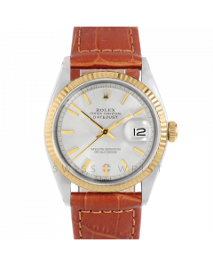 Rolex Datejust 36 1601 Yellow Gold & Steel, Silver Stick Dial, Fluted Bezel On Brown Alligator Leather Strap, Men's Pre-Owned Watch