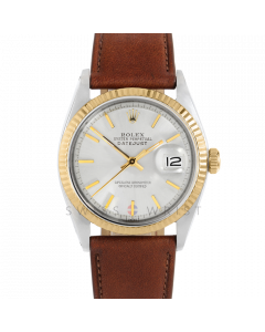 Rolex Datejust 36 1601 Yellow Gold & Steel, Silver Stick Dial, Fluted Bezel On Mahogany Leather Strap, Men's Pre-Owned Watch