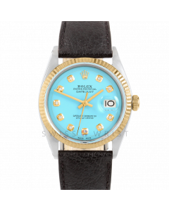 Rolex Datejust 36 1601 Yellow Gold & Steel, Custom Turquoise Diamond Dial, Fluted Bezel On Black Buffalo Leather Strap, Men's Pre-Owned Watch