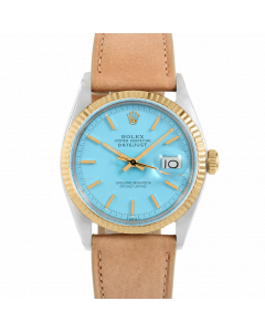 Rolex Datejust 36 1601 Yellow Gold & Steel, Turquoise Stick Dial, Fluted Bezel On Taupe Leather Strap, Men's Pre-Owned Watch